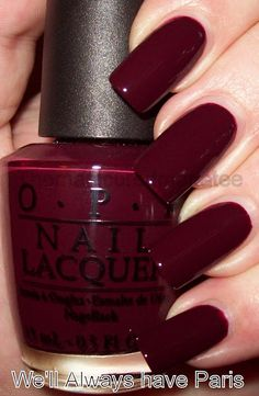 O.P.I. nail polish, color: We'll Always Have Paris (deepest wine creme) Not usually a dark polish fan or any on your fingernails but this color is gorgeous