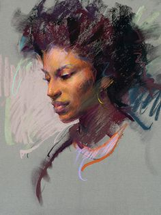 """Presence"" - Daniel F. Gerhartz, b. 1965, pastel {figurative art beautiful female head african-american woman face portrait drawing #loveart} #naturalhair <3 danielgerhartz.com"