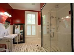 Romantic red and black and white bathroom