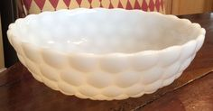 Vintage Large  Anchor Hocking Bubble White Milk Glass Hobnail Serving Bowl #AnchorHocking #BUBBLEHOBNAIL