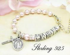 Personalizada bebé bautismo perla y pulsera rosario de plata
