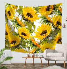 "Amazon.com: ZBLX Tapestry by, Sunflowers Forever Tapestry Wall hanging-Light-weight Polyester Fabric Wall and Home Decor. (59.1""X82.7""): Home & Kitchen"