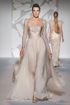 abed mahfouz fall winter 2012 2013 couture strapless gown long sleeve shrug jacket