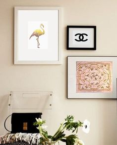 Art Print 24K Gold and Pink Couture Flamingo 85x11 by GildedMint, $28.00