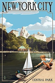New York City, New York - Central Park Travel Poster (9x12 Art Print) #affiliate