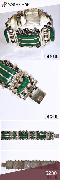 """Vintage Sterling Mexico Silver & Jade Bracelet This gorgeous Vintage Sterling Mexico bracelet with Jade warrior heads dates back to the 1930's.   Condition: EUC. """"Sterling Mexico"""" stamp on the back. Stunning statement piece.  Measurements: Width: 1.25"""" Length: 7.25""""   Thank you for stopping by my closet. Please let me know if you have any questions. GM Jewelry Bracelets"""