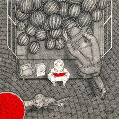 Watermelon - 25x25cm - Rapid Pen & Ink On Cardboard By Mostafa Akbari © ▌2015 www.mostafaakbari.com