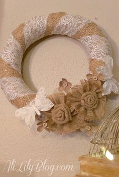 Such a stunning DIY wedding wreath made from burlap and lace!  DIY wedding decor, crafts, vintage wedding, rustic wedding. wreath with lace, wreath with burlap.