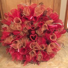 Red and Leopard Valentines Wreath