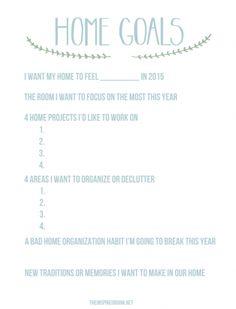 Home Goals Worksheet - The Inspired Room