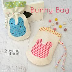 Sewing Tutorials Free Easter is always such a fun time for all the family to celebrate. With Easter Egg Hunts and Chocolate to share these sweet Bunny Bags ar. Bag Patterns To Sew, Sewing Patterns Free, Free Sewing, Sewing Tutorials, Sewing Crafts, Sewing Projects, Sewing Ideas, Bag Tutorials, Sewing Hacks