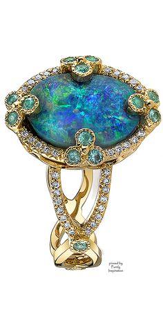 Erica Courtney - Earth ring. Yellow gold ring, black opal, diamonds