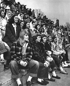 Teenage girls at a football game, 1944. Photo by Nina Leen