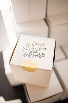 wedding favor boxes / wedding dessert boxes http://ruffledblog.com/modern-covered-bridge-wedding