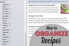 I've finally found THE PERFECT way to organize my recipes, so that I can always find what I need and I have no more random recipes from magazines, cookbooks, websites, and random paper everywhere.: