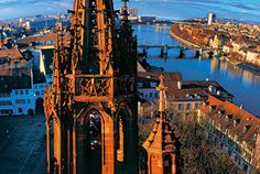 Münster Cathedral in Basel, Switzerland. Climbing tiny spiral staircases and the view from up here made my head spin! River Cruises In Europe, Cruise Europe, Great Places, Places To See, Beautiful Places, Basel, Zurich, Switzerland Bern, Cruise Offers