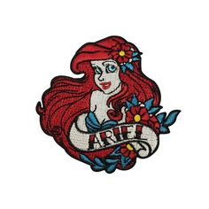 "Disney Princess ""Ariel"" Iron-On Patch Little Mermaid Girls Outfit Craft Applique #Unbranded"