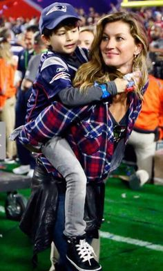 Brady's wife and son Super Bowl Champions-New England Patriots