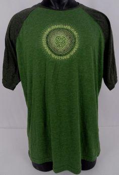 prAna Mens XL Raglan Baseball T-Shirt Two-Tone Green Jersey Type SS Circle Logo #prAna #Raglan
