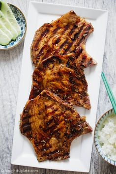 These Vietnamese grilled pork chops are full of sweet and savory flavors and infused with lemongrass fragrance. Serve it with rice for a quick and easy dinner. #vietnamese #pork #grill