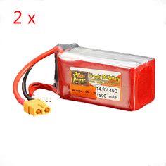 2 x ZOP Power Batería de Lipo de 14.8V 1500mAh 4S 45C Enchufe XT60