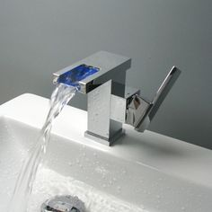 Contemporary Color Changing LED Waterfall Bathroom Sink Tap - T9001 http://www.tapforyou.co.uk/led-taps/contemporary-color-changing-led-waterfall-bathroom-sink-tap-chrome-finish-t9001