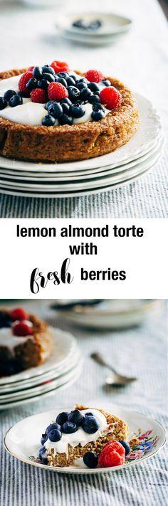 lemon almond torte with fresh berries combines sweet almond torte ...