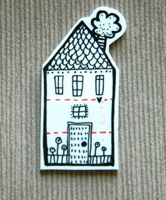 HOUSE hand drawn little brooch/ pin badge  $12