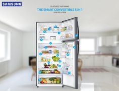 Samsung introduced the new range of smart convertible refrigerators with modes to suit your every need. 5 In 1 convertible modes like Seasonal Mode, Vacation Mode, Home Alone Mode, Extra Fridge Mode, Normal Mode. For more information, visit: http://www.samsung.com/in/microsite/smart-convertible-refrigerator/range5-in-1.html