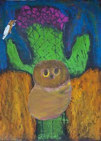 Ella, grade Delaney, grade Raya, kindergarten Her first art class with her big sister - what fun! Elf Owl, Desert Art, First Art, Art Lessons, Cactus, Fun, Painting, Ideas, Color Art Lessons