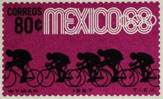 Mexican 80c postage stamp from 1968 celebrating the Mexico Summer 1968 Olympics cycling events