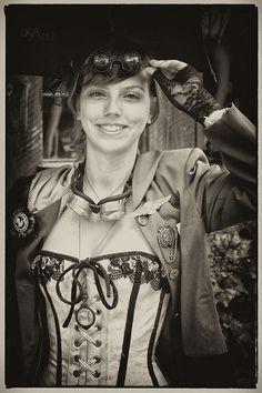 Steampunk Photograph - White Corset by David April