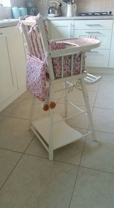 After a lovely shabby chic combelle highchair in Laura Ashley Country White eggshell paint and handmade cushion and bib bag