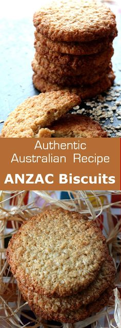 ANZAC Biscuits Authentic recipe of Australian ANZAC biscuits with rolled oats and coconut, which are famous since the First World War.Authentic recipe of Australian ANZAC biscuits with rolled oats and coconut, which are famous since the First World War. Australian Party, Australian Food, Australian Recipes, Australian Cookies, Australian Desserts, Baking Recipes, Cookie Recipes, Dessert Recipes, Bisquick Recipes
