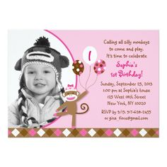 Pink Sock Monkey Girl Photo Birthday Invitations
