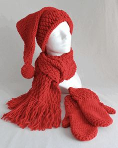 Stocking Hat, Scarf and Mitten Set Crochet Pattern