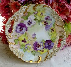 Beautiful Antique Limoges Hand Painted Artist Signed Plate Floral Gold