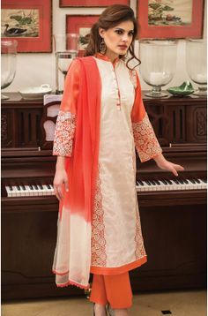 Semi-Stitched Off White and Orange Designer Cotton Salwar Suit with Chiffon Dupatta - URB3B To buy here: http://goo.gl/yxNMcE