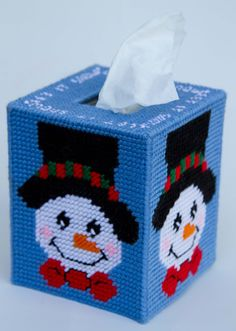 Plastic Canvas-Let it Snow Snowman Tissue Topper Plastic-Canvas-Kits.Com Plastic Canvas Ornaments, Plastic Canvas Tissue Boxes, Plastic Canvas Christmas, Plastic Canvas Crafts, Plastic Canvas Patterns, Christmas Sewing, Christmas Crafts, Christmas Patterns, Christmas Items