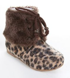 Amazon.com: Girls Leopard Lace up Fur Cuff Ankle Furry Boot (Toddler/little Kid/big Kid): Shoes