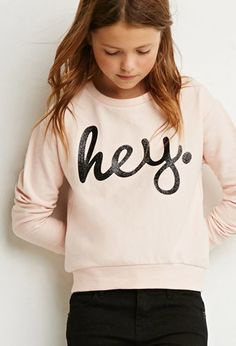 Hey Glitter Sweatshirt (Kids) | Forever 21 girls - 2000174526