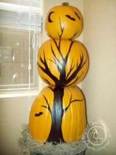 painted pumpkin topiary