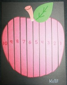 "Apple activities: FREE printables: 3 Apple ""strip"" puzzles.  Includes sequencing numbers from 1-10, skip counting by 10's to 100, and counting backwards from 10 to 1.  Children get in cutting practice by cutting the apple into strips and arranging them on a sheet of black construction paper.  You can also laminate several sets and use in a math center or for students to play ""Speed"" games."