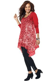 Printed Asymmetrical Hem Tunic by Taillissime® | Plus Size Taillissime® | OneStopPlus