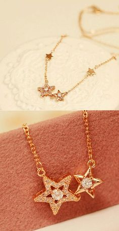 Romantic Double Star Flash Pendant Clavicle Rhinestone Women Necklace for big sale! #necklace #star #jewelry
