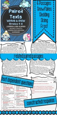 These wintry passages (Lexile 850-1010) meet the demand for more rigorous, complex texts with Common Core- especially paired texts that students can use to compare and build knowledge to integrate information and draw conclusions. Text dependent questions and constructed responses are included with each pair of passages.
