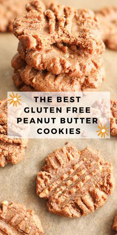 Classic Peanut Butter Cookies recipe that is gluten free and flourless! These easy to make cookies are the BEST - soft and chewy. Dairy free and glutenfree! Healthy Bars, Healthy Dessert Recipes, Baking Recipes, Desserts, Classic Peanut Butter Cookie Recipe, Gluten Free Peanut Butter Cookies, Paleo Apple Crisp, Easy To Make Cookies, Sans Gluten