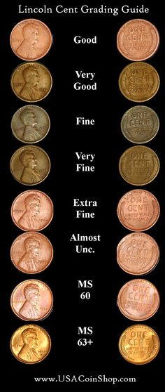 Wheat pennies the highly sought-after rare coins Lincoln Cent Visual Grading Scale. Check Your Pocket Change. Valuable Pennies, Rare Pennies, Valuable Coins, Rare Coins Worth Money, Penny Values, Coin Worth, Error Coins, Coin Values, Old Money