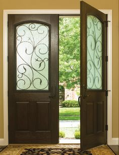 8u00270  Classic-Craft Rustic Collection double doors with Augustine wrought iron decorative & Therma-Tru Classic-Craft Rustic Collection fibreglass door with ...