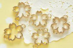 5 pcs Sakura Cherry Blossom Gold Double Loop Open by misssapporo